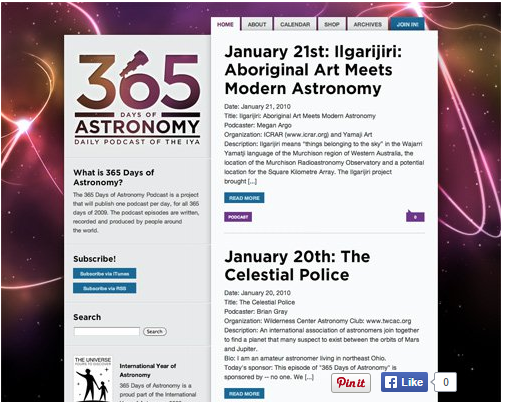 Color combination of 365Days of Astronomy website design