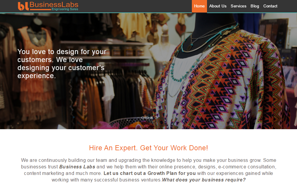 colors used in businesslabs website design
