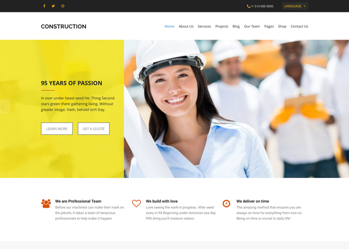 Theme Website Design- Construction WordPress Theme | WDShow
